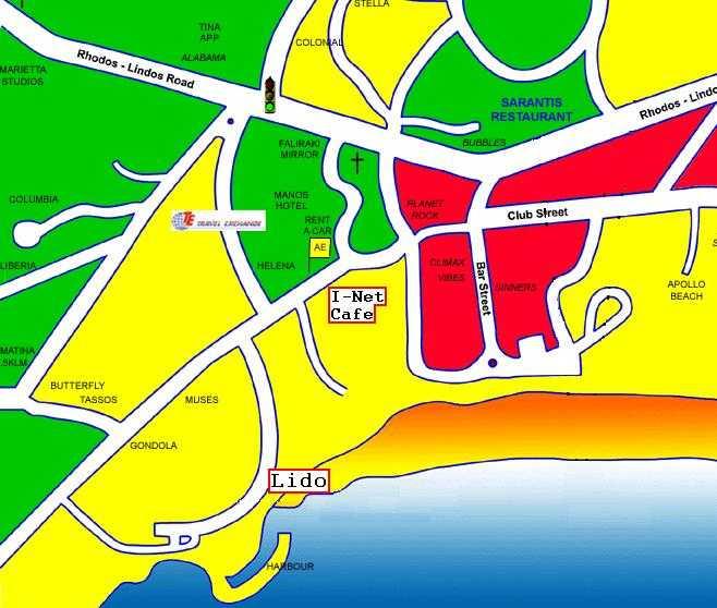 Strand Karte Rhodos.Lido